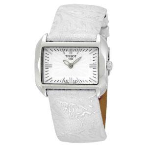 Reloj para mujer Tissot T-Wave con esfera blanca y cuero plateado T0233091603102