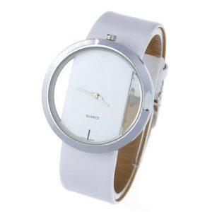 Relojes de pulsera para mujer Reloj de moda casual analógico de cuarzo S Acero Cuero Blanco