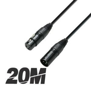 Roar 20M DMX Cable XLR Hembra - XLR Macho Negro 110 Ohm 2000cm Disco Iluminación DJ