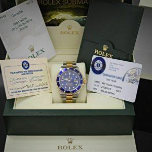 Rolex Submariner Date 16613 - Caja y papeles de acero y oro azul