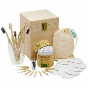 Set de regalo de productos ecológicos: cepillos de dientes de bambú, removedor de maquillaje reutilizable