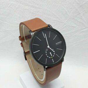 Skagen Hagen Correa de cuero marrón para hombre Caja negra Reloj Dail negro SKW7603