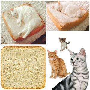 Suministros para mascotas Cojín para tostadas Simulación para dormir Rebanadas de pan Almohada de algodón suave