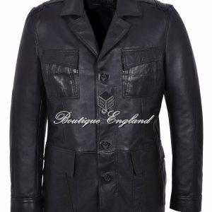 'TROPIC SAFARI' Chaqueta de piel de cordero negra de diseñador de moda para hombre