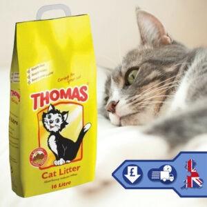 Thomas Arena para gatos Suministros para mascotas Arena mineral natural para gatos Higiene 16L Limpieza