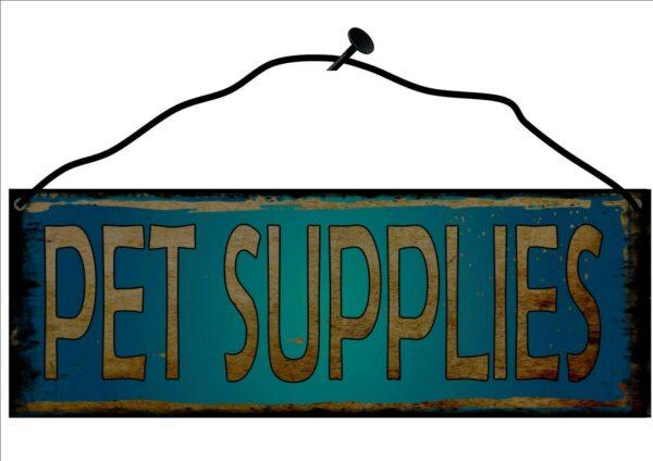 Tienda de artículos para mascotas, letrero de metal colgante, placa de pared con reproducción de letrero vintage