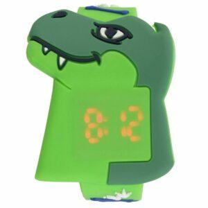 Tikkers Kid's Dino Reloj con correa de plástico verde Correa de silicona suave y dinosaurio_NEW