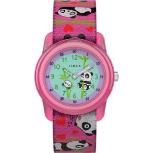 Timex TW7C77100, Reloj elástico rosa para niños Time Machines, Panda, Time Teacher