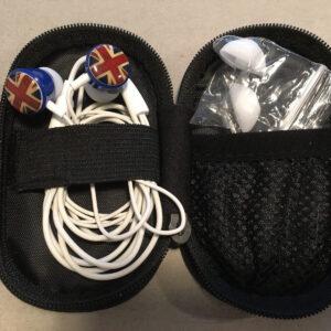 Union Flag Gear4 In Ear Phones Buds, 3.5 Audio Jack en Zip Klipsch Case FUNCIONANDO