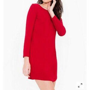Vestido de manga larga rojo oscuro vino burdeos de American Apparel Crepe M mediano