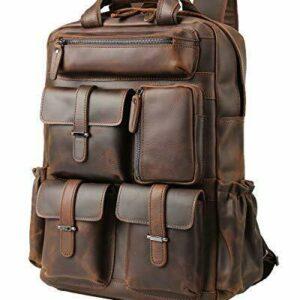 Vints - Mochila de cuero para hombre, compatible con mochila para portátil de 15,6 pulgadas, libro escolar