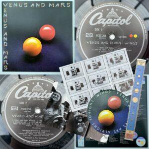 WINGS Venus y Marte LP Capital 1U / 1U VG + / EX con 2x carteles y 2x pegatinas 1975