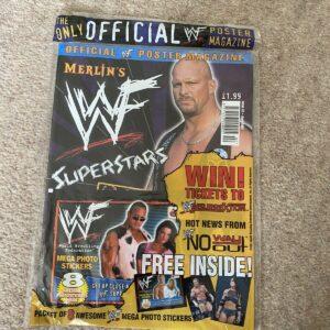 WWF / WWE SupStars Poster Magazine Merlin Stone Cold y pegatinas sin abrir 2001