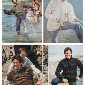 Wendy Knits For Men Knitting Pattern Book 12 Diseños Tartan Sweater Vintage