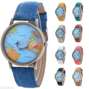 World Map Globe Moving Aeroplane Airplane Watch Leather Globe Traveller Travel