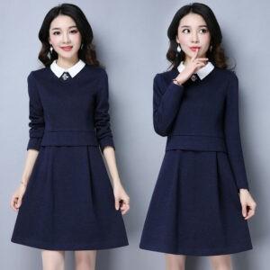 último otoño invierno moda coreana elegante temperamento vestido de cuello de camisa
