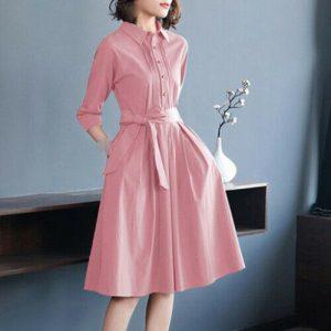 último verano moda coreana elegante temperamento cuello de camisa hermoso vestido
