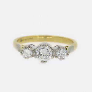 0.75 Carat Diamond Three Stone Ring 18ct Yellow Gold