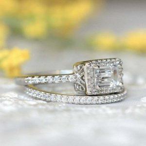 1.28Ct Emerald Cut Diamond Halo Bridal Set Engagement Ring 14K White Gold Finish