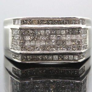 14k White Gold & Diamond Mens Ring 1.00 TCW G-H SI1-SI2 15.8g #30004