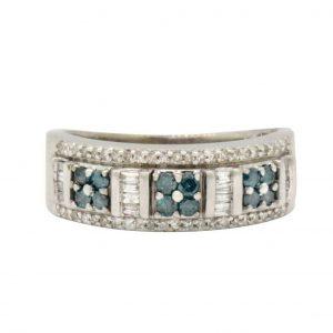 14k White Gold & Diamond Ring 0.45 TCW H-I Si1 -Si2 Size 7 4.0g #31750B