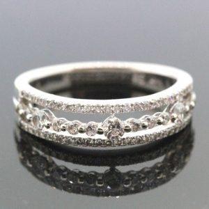 14k White Gold & Diamond Unique Ring 0.35 TCW H SI 4.2g.  #30152