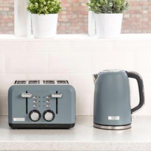 Haden Perth 1.7L Kettle & 4 Slice Toaster Set Kitchen Appliances - Grey