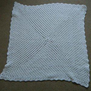 Babies Knitted/Crochet White Pram Blanket