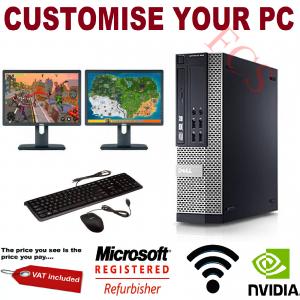 Gaming PC Bundle Intel Core i7 8GB 1TB GT710 DUAL SCREEN Windows 10 ULTRA FAST