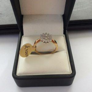 18ct Gold half carat Diamond cluster ring size P