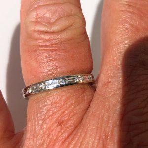 18ct White Gold Baguette Cut Diamond Half Eternity Ring