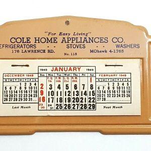 1949 Cole Home Appliances Co, Lawrence Rd MOhawk Vintage Metal Desk Calendar A16