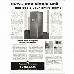 1954 American Standard: Sunbeam Air Conditioners Vintage Print Ad