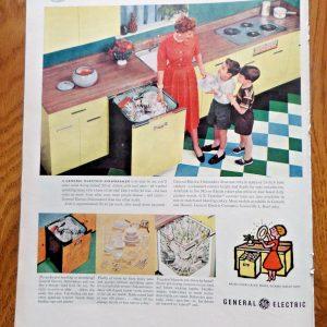 1956 GE General Electric Ad Kitchen Appliances Dishwasher