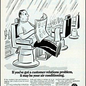 1968 Barbershop barber sweating GE air conditioners vintage art print ad ads41