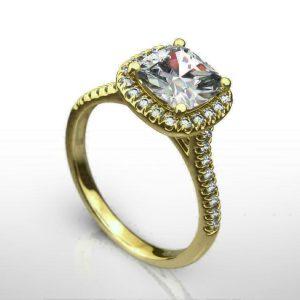 2.50Ct Cushion-Cut VVS1 Diamond Halo Engagement Ring 14k Yellow Gold Finish