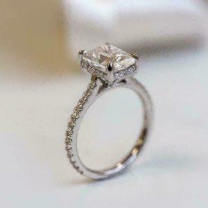 2.50Ct Princess-Cut VVS1 Diamond Solitaire Engagement Ring 14K White Gold Finish