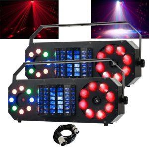 2x American DJ Boom Box FX2 4-FX-in-1 DJ Disco Club LED Lighting Effect & Cable