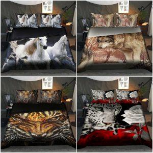 3D Animal Printed Duvet Cover Set 4 Piece Bedding Set Single Double & King Size