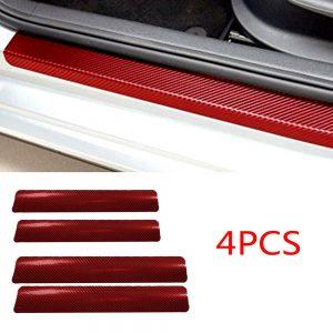 4x Car Accessories 3D Carbon Fiber Front Rear Door Sill Scuff Anti-Scratch Decal
