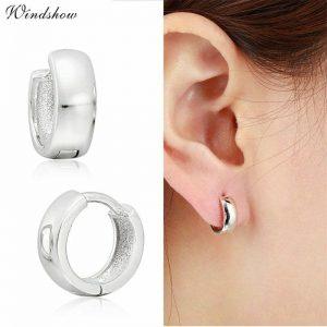 925 Sterling Sliver Loop Circles Wide Small Huggies Hoop Earrings For Women