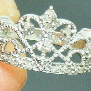 9ct Gold 0.25ct Diamond Princess Tiara Design Hallmarked ring size L