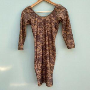 American Apparel bodycon brown mini dress open back size S