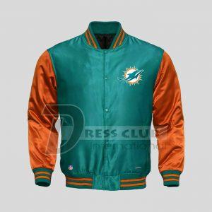 American NFL Miami Dolphins Football Jacket Varsity Sports Wear Satin Jacket