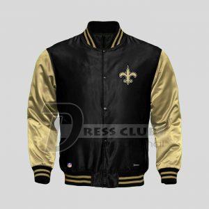 American NFL New Orleans Saints Football Jacket Varsity Sports Wear Satin Jacket