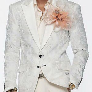 Angelino Men's Fashion Blazer Sport Coat - Ripple White and Silver