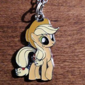 "Applejack - My Little Pony Pendant Necklace Silver 20"" - Gift Idea MLP"