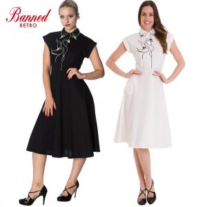 Banned Apparel Swan Lake Collared Vintage Retro Midi Fit & Flare Dress