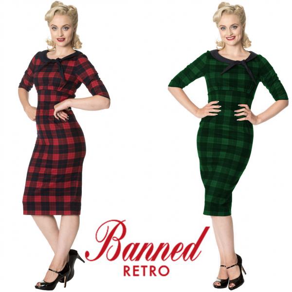 Banned Apparel Take Me To Paris Tie Neck Check 40s Pencil Dress