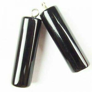 Beads Natural Black Agate Column Pendant Earring Bead 2Pcs 30x8 mm